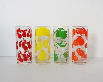 Vintage Fruit Glasses, Set of four juice glasses, lemon yellow, cherry red, orange and apple green