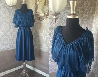 Vintage 1970's Prussian Blue Dancing Dress Medium