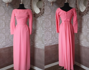Vintage 1960's Lorrie Deb Bubble Gum Pink Evening Gown Small