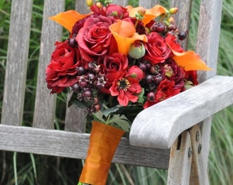 Vibrant Fall Wedding Bouquet, Keepsake Bouquet, Bridal Bouquet, made with Silk Orange Calla Lily, Red Rose, Ranunculus and Berries.
