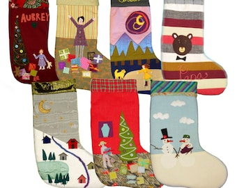 Personalized Handmade Christmas Stockings, hand sewn, heirloom quality, applique, embroidered, many styles