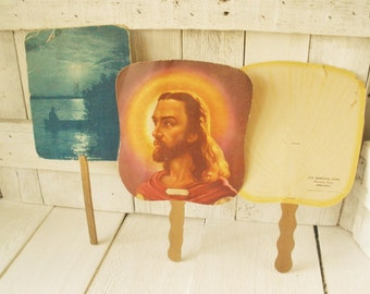 Three vintage paddle fans funeral home paper Jesus Christ 1950s advertisement- free shipping US
