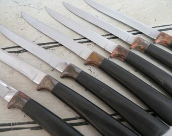 Constellation by Carvel Hall Steak Knives Black and Bronze Set of 7 Knives Knife Set