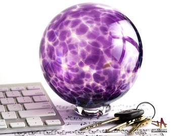 Hand Blown Glass Float - Opaline with Hyacinth Purple Dots