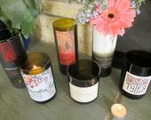 Set of 6 Wine Bottle Vases / Candle Holders