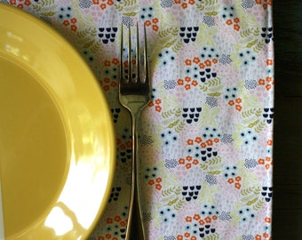 Tiny Flowers Reversible Placemats, Set of 4, Eco Friendly, Reversible Placemat Set, Orange Ink Dot Placemats