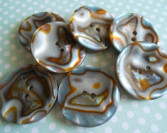 Gradient Buttons Brown Fake Abalone 6 pcs