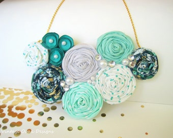 Emerald Rosette Necklace, Rosette Statement Necklace, Rosette Jewelry, Rosette Bib Necklace,Emerald Rosette Necklace,Fabric Jewelry