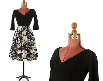 Vintage 1950's Suzy Perette Black Crepe Rayon Silk Abstract Floral Print Garden Party Dress S