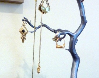 Manzanita Jewelry Tree, Steel Blue - Gorgeous for gold and silver tones