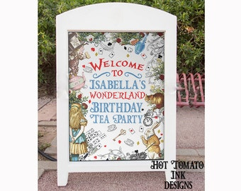 Alice in Wonderland Sign- Alice in Wonderland Welcome Sign-Tea Party - Poster-Party Decoration-Alice in Wonderland Decor Printable YOU PRINT
