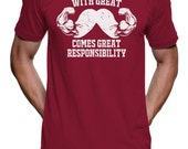 With Great Mustache Comes Great Responsibilty T Shirt - American Apparel Tshirt - S M L XL 2X