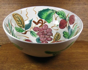 """Vintage 11"""" XL Multi-Color Fruit Bowl or Salad Serving Bowl Hand Painted Apples Grapes Berries Pears Party Entertaining BBQ"""