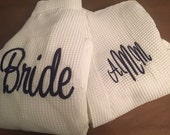 Monogrammed Navy Bridesmaid Robe, Personalized Bridesmaid Robe, Navy Robe, Bridal Party Robe, Waffle Weave Robe