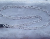 Sterling Silver Chain ID Badge Lanyard Medium Links Smooth and Textured Chain Links