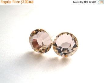 SALE Swarovski Crystal Stud Earrings, Crystal Earrings, Beige, Champagne and Neutral, Silk Color, Post Earrings, Bridesmaid Gifts