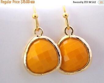 SALE Glass Earrings, Mustard Earrings, Yellow Earrings, Mustard Yellow, Gold Earrings, Dainty, Dangle Earrings, Petite, Bridesmaid Earrings