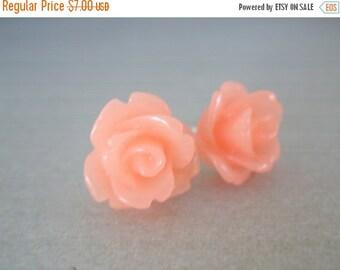 SALE Peach Earrings, Peach Jewelry, Soft Peach Wedding, Pink Earrings, Rose Earrings, Flower Earrings, Bridesmaid Earrings, Bridesmaid Gifts