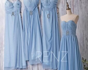 2017 Light Blue Bridesmaid Dress, Mix and Match Prom Dress, Long Maxi Dress, Strapless Wedding Dress, Women Evening Gown (F108/B013A/F198)