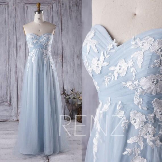 Licht blau Brautjungfernkleid mit weißer Spitze liebsten Tüll