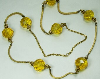 1940s French Necklace Huge Topaz Glass Beads Filigree Snake Chains 32 Inches Statement Necklace