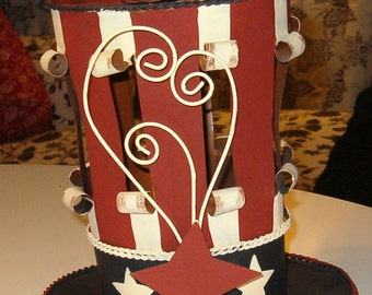 "Tin Uncle Sam Candle Lantern, Base Opens, 7""H x 7 ""W, Muted Tones"