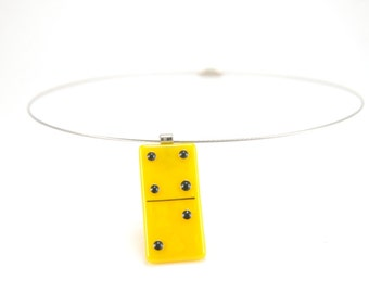 Sunflower yellow and black Domino fused glass pendant necklace, contemporary jewelry