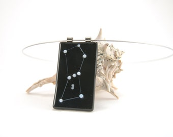 Astronomy necklace: Orion, the Hunter constellation fused glass pendant, black and white, Space Oddity, night sky skies jewelry, b&w pendant