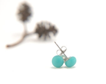 Teal green stud earrings, small matte fused glass ball earrings with surgical steel earring posts
