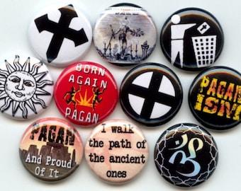 """Pagan Paganism Symbols Quotes 10 Pinback 1"""" Buttons Badges Pins"""