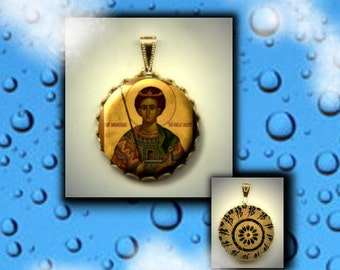St. DEMETRIOS Demetrius Orthodox Saint Icon hand pressed metal CABOCHON Brass Charm / Pendant