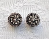 "Fancy Silver Clear Jewel Design Center Wedding Pair Plugs Gauges Size: 9/16"" (14mm), 5/8"" (16mm)"