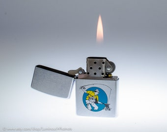 Working 1995 Zippo Fisherman Windproof Pocket Lighter With 3-Color Finish