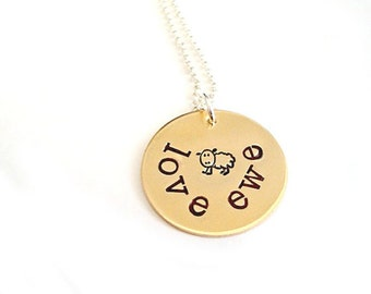 The Love Ewe Pendant - Handstamped Jewelry in Bronze and Sterling Silver -