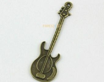 10Pcs Antique Brass guitar Charm guitar Pendant 53x15mm (PND1295)