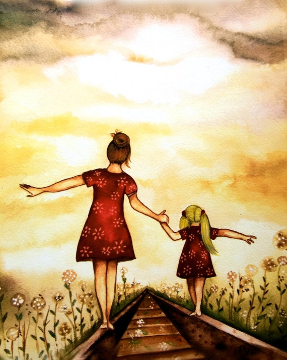 "Mother and blonde daughter ""our path"" art print, gift idea mother's day"