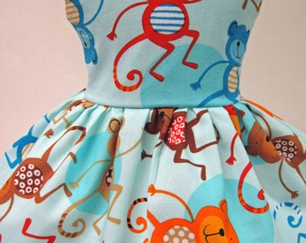 Jungle Monkeys, Blue Dress for your American Girl Doll A