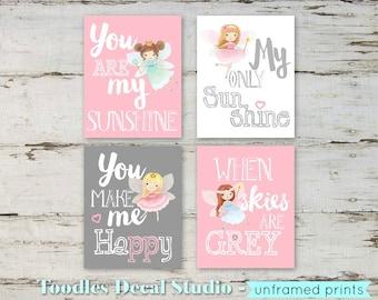 cute fairy nursery decor baby girl room decor 8x10 fairy prints