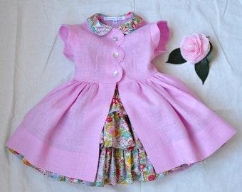 Beautiful Ruffle Dress With Linen Over Dress Size 3