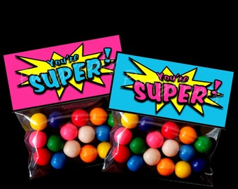 INSTANT DOWNLOAD - Printable Treat Bag Toppers  - You're Super - Superhero - SupeGirl - Boy & Girl