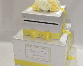 White and Yellow Wedding Card Box-Rhinestones