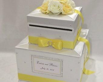 White and Yellow Wedding Card Box-Rhinestones