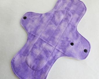 12 inch cloth pad - cloth menstrual pad - mama pad - heavy flow pad - plus size cloth pad - purple tie dye flannel top - made to order