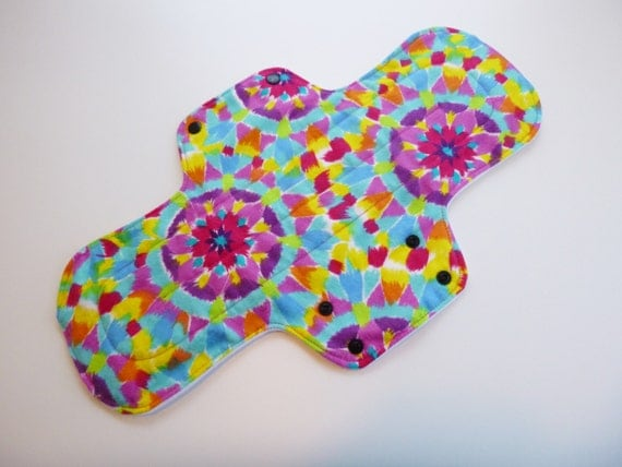 postpartum pad - 14 inch cloth menstrual pad - cloth pad - overnight cloth pad - mama cloth - trippy kaleidoscope flannel top - in stock