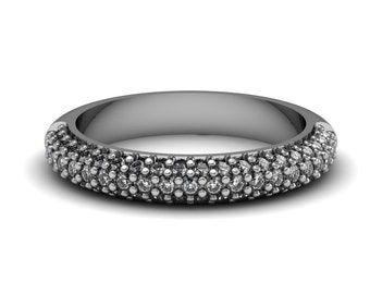 Diamond Bling Bling Ring accented by 61 diamonds 0.61 ct White Yellow Rose Gold 4mm wide | made to order for you within 5-7 business days