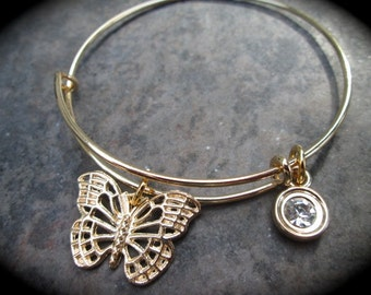 Butterfly Adjustable Wire Bangle with sparkly Rhinestone charm Light Gold finish bangle bracelet Bridesmaid gift