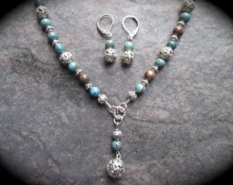 Blue Jasper gemstone and Silver filigree beaded Y necklace and earrings set with Sterling Silver leverbacks