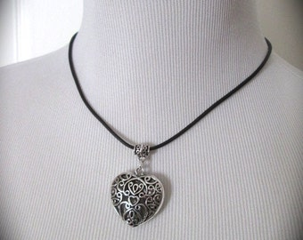 """Boho Leather Necklace with Filigree Heart charm 17"""" with 3"""" extender Ten Dollar Gifts!"""