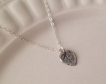 Silver Leaf Necklace -Leaf Pendant Necklace in Sterling Silver -Nature Necklace