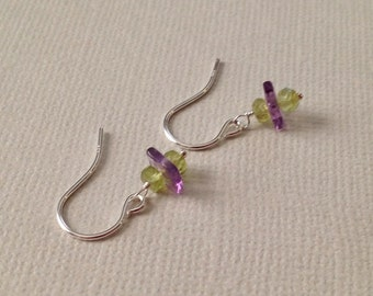 Peridot and Amethyst Earrings in Sterling Silver -Silver Amethyst and Peridot Earrings